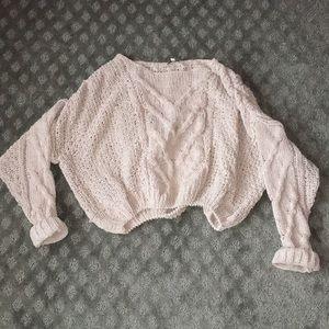 Woven crop sweater